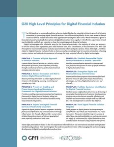 G20 High Level Principles for Digital Financial Inclusion - Summary
