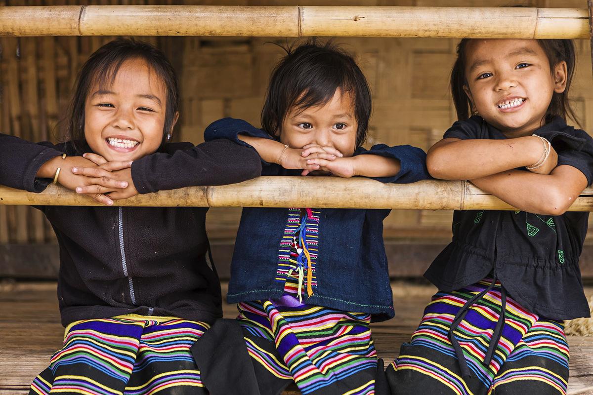 laos-three-little-girls-in-northern photo