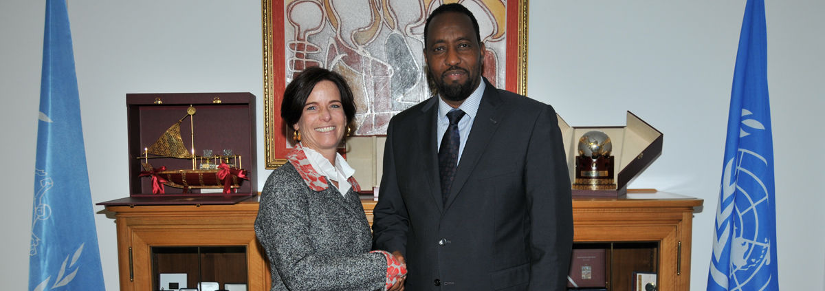 Bishar A. Hussein, the UPU's director general, with Beth Porter