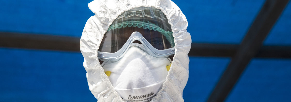 Ebola Worker in uniform closeup
